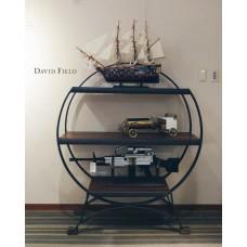 圓弧鍛鐵實木展示櫃