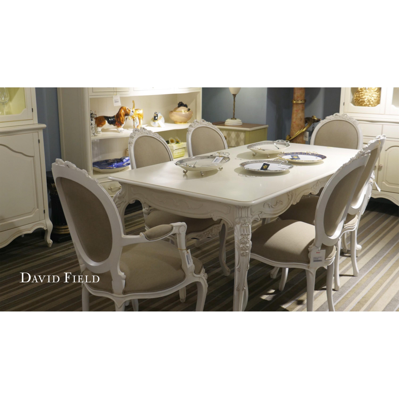 洗白雕花長餐桌椅